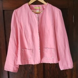 Sigrid Olsen blazer, pink with sequins